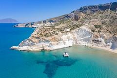 Boat anchored in the Sea of Crete near Kleftiko on Milos Island, Greece