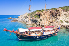Two-masted ship at Kleftiko on Milos Island, Greece