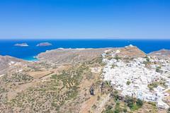 Aerial view of the landscape near Plaka neighborhood on Milos Island, Greece