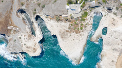 Top down aerial of Papafragas Beach on Milos Island, Greece