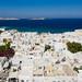 Aerial view of Little Venice in Mykonos, Greece