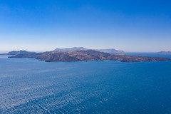 Aerial view of Tholos Naftilos in Santorini, Greece
