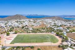 Aerial view of Milos Municipal Stadium in Greece