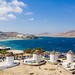 Mykonos windmills with a view of the Aegean Sea in Greece