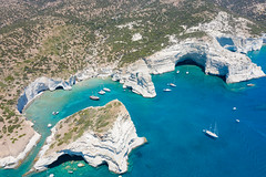 Arial view of rocks and caves at Kleftiko on Milos Island, Greece