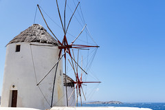 Blades of Mykonos windmills in Greece