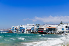 Houses on the coast in Mykonos, Greece