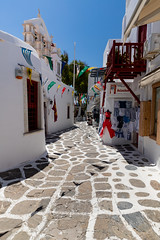 Shops in the old town of Mykonos, Greece