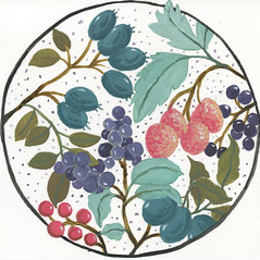 Mixed Round Berries Exercise from Painting with Gouache-Gouache on Hahnemühle Coldpress 'The Collection' Watercolor paper
