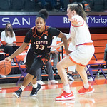 Mercer redshirt-senior guard Jada Lewis (31) dribbles past Clemson's Kendall Spray (3) during a Dec. 2 contest in LittleJohn Coliseum in Clemson, S.C. (Caleb Browder, The Tiger)