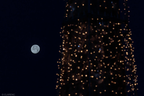 full moon meets christmas lights