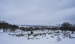 Photo of Crookes cemetery and Rivelin valley in snow, Sheffield, UK
