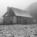 Barn in fog and snow