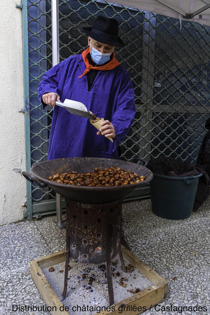 Distribution de chataignes grillées - Castagnades