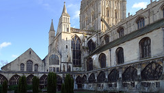Cloister garth with view of chapter house and north transept, Gloucester Cathedral
