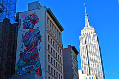 Empire State Building & The Gilded Lady Mural ESB 27th St & 5th Ave Midtown Manhattan New York City NY P00740 DSC_0946