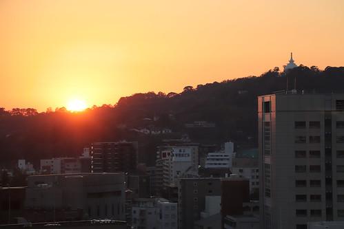 Kumamoto stupa over a sunset