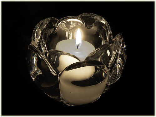 Candle in a Crystal Bowl