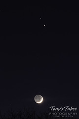 December 16, 2020 - The waxing crescent moon and Saturday and Jupiter. (Tony's Takes)