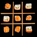 Tic-tac-toe game made from sushi, top view