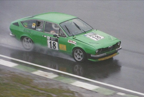 Nev Simpson on a wet day with the Alfetta