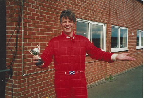 A happy Sam Laird after a win at Snetterton 2002