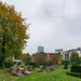 City park with peculiar rocks and cube bushes in Düsseldorf