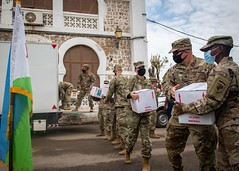 Soldiers from the civil affairs task force from Camp Lemonnier deliver personal protective equipment to the mayor's office in Djibouti City.