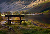 Sunset, Bench, Buttermere Lake, Cumbria, Lake District, England