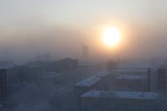 frosty fog. 100 degrees Fahrenheit