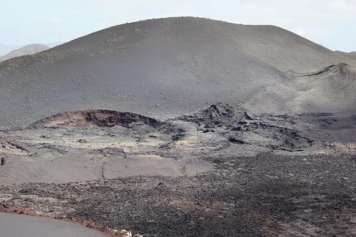 View over the lava field to Montaña de Los Miradores