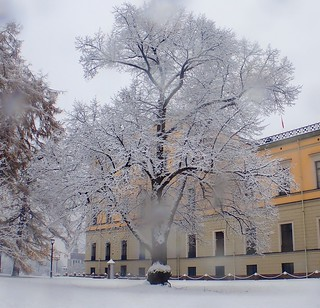 The King´s Castle in fog and snow. Oslo, Norway