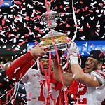 Ohio State with trophy (Jonathan Bachman for the Allstate Sugar Bowl)
