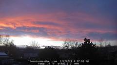 January 2, 2021 - A nice looking sunset. (ThorntonWeather.com)