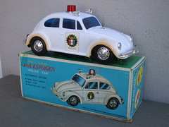 Boxed 1970's Vintage Plastic Police VW Volkswagen Beetle Battery Operated Made in Hong Kong
