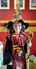 My Harry Potter mad Grandson with the staff I made him
