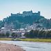 Salzburg Castle with Salzach River in Salzburg in Austria