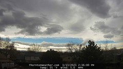 January 13, 2021 - Cool PM clouds over Thornton. (ThorntonWeather.com)