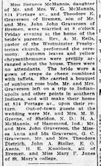 1917 - Theodore Graverson marries Bernice McMannis - South Bend News Times - 21 Oct 1917