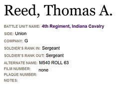 1865 - Thomas A Reed 4th Indiana Cavalry