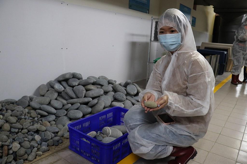 企鵝後場的秘密,解說人員說明照護相關器具如企鵝繁殖用的鵝卵石、孵蛋箱、企鵝餌料等養育設備