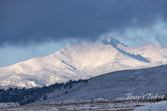 Wintry scene toward Mount Meeker and Longs Peak in the Colorado foothills