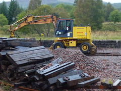 Photo of Road/rail Megarailer on a station somewhere between Fort William and Upper Tyndrum