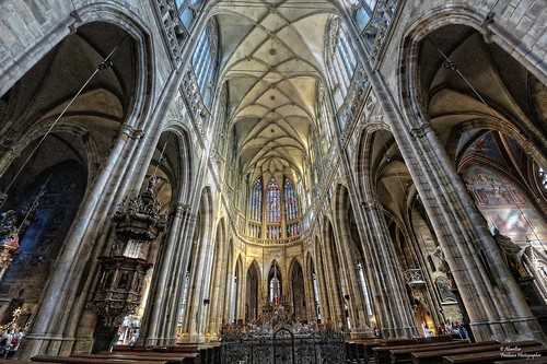 Choir and altar of the Saint Vitus Cathedral. Prague