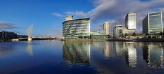 Photo of 22nd January 2021. The Manchester Ship Canal at Media City UK, Salford Quays, Greater Manchester