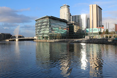 Photo of 22nd January 2021. The Manchester Ship Canal at Media City UK, Salford Quays, Greater Manchester.