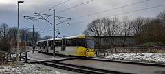 Photo of 24th January  2021. Ready for a wash, Metrolink Tram No. 3028 approaches St. Werburgh's Road, Chorlton, Manchester