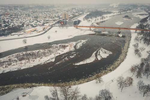 Snowing | Kaunas aerial