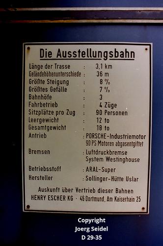 DE-44139 Dortmund Westfalenpark Intamin Kleinbahn Infotafel im Juli 1988