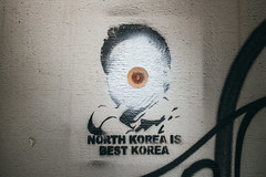 "Graffiti with a message ""North Korea is best Korea"""